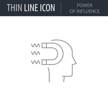 Symbol of Power Of Influence Thin line Icon of Business. Stroke Pictogram Graphic for Web Design. Quality Outline Vector Symbol Concept. Premium Mono Linear Beautiful Plain Laconic Logo Logo