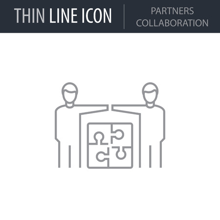 Symbol of Partners Collaboration Thin line Icon of Business. Stroke Pictogram Graphic for Web Design. Quality Outline Vector Symbol Concept. Premium Mono Linear Beautiful Plain Laconic Logo