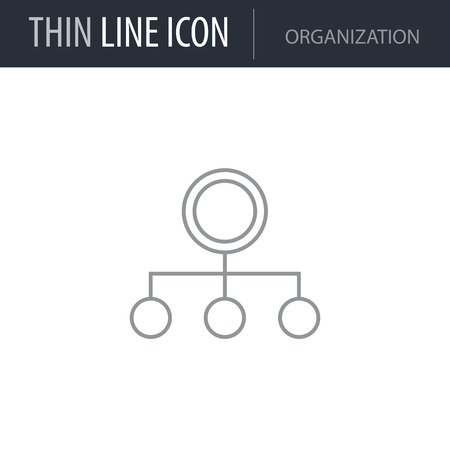 Symbol of Organization Thin line Icon of Business. Stroke Pictogram Graphic for Web Design. Quality Outline Vector Symbol Concept. Premium Mono Linear Beautiful Plain Laconic Logo