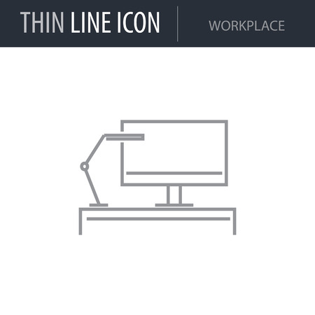 Symbol of Workplace Thin line Icon of Business. Stroke Pictogram Graphic for Web Design. Quality Outline Vector Symbol Concept. Premium Mono Linear Beautiful Plain Laconic Logo Illustration