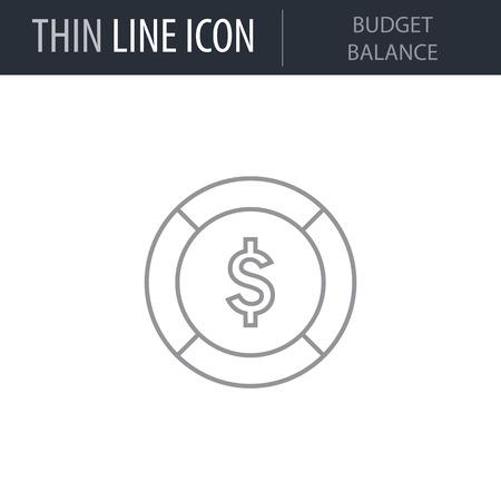 Symbol of Budget Balance Thin line Icon of Business. Stroke Pictogram Graphic for Web Design. Quality Outline Vector Symbol Concept. Premium Mono Linear Beautiful Plain Laconic Logo Foto de archivo - 123869686