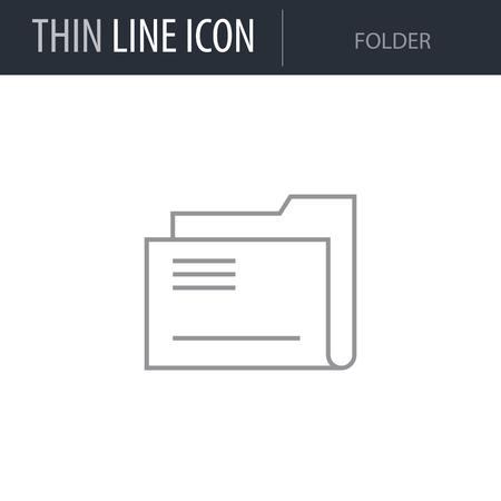 Symbol of Folder Thin line Icon of Business. Stroke Pictogram Graphic for Web Design. Quality Outline Vector Symbol Concept. Premium Mono Linear Beautiful Plain Laconic Logo Illustration