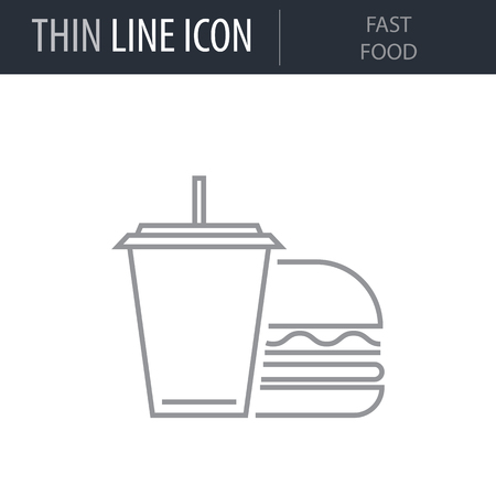 Symbol of Fast Food. Thin line Icon of Icons Of City Elements. Stroke Pictogram Graphic for Web Design. Quality Outline Vector Symbol Concept. Premium Mono Linear Beautiful Plain Laconic Logo