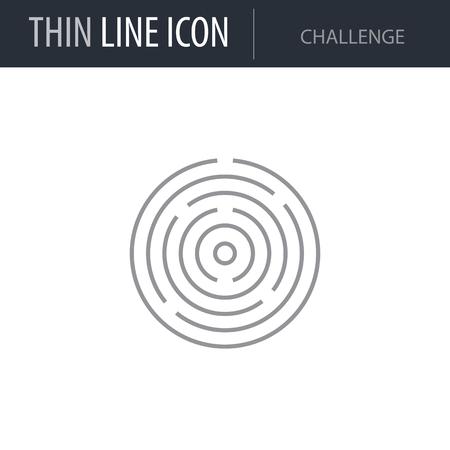 Symbol of Challenge Thin line Icon of Business. Stroke Pictogram Graphic for Web Design. Quality Outline Vector Symbol Concept. Premium Mono Linear Beautiful Plain Laconic Logo