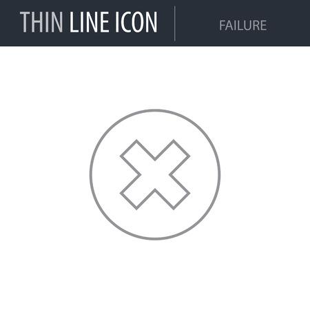 Symbol of Failure Thin line Icon of Business. Stroke Pictogram Graphic for Web Design. Quality Outline Vector Symbol Concept. Premium Mono Linear Beautiful Plain Laconic Logo