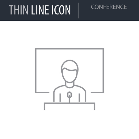 Symbol of Conference Thin line Icon of Corporate Managemen. Stroke Pictogram Graphic for Web Design. Quality Outline Vector Symbol Concept. Premium Mono Linear Beautiful Plain Laconic Logo Ilustração