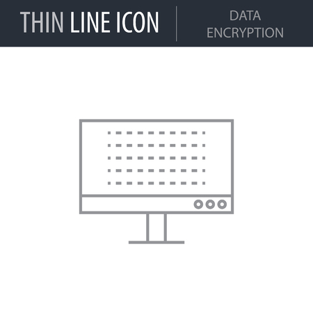 Symbol of Data Encryption Thin line Icon of Cyber Security. Stroke Pictogram Graphic for Web Design. Quality Outline Vector Symbol Concept. Premium Mono Linear Beautiful Plain Laconic Logo Logo