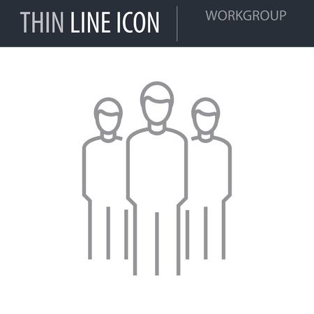 Symbol of Workgroup Thin line Icon of Corporate Managemen. Stroke Pictogram Graphic for Web Design. Quality Outline Vector Symbol Concept. Premium Mono Linear Beautiful Plain Laconic Logo