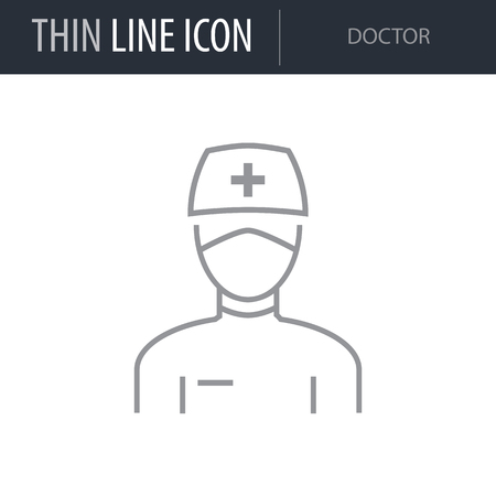 Symbol of Doctor Thin line Icon of Different People. Stroke Pictogram Graphic for Web Design. Quality Outline Vector Symbol Concept. Premium Mono Linear Beautiful Plain Laconic Logo Иллюстрация