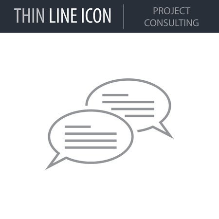 Symbol of Project Consulting Thin line Icon of Design Thinking. Stroke Pictogram Graphic for Web Design. Quality Outline Vector Symbol Concept. Premium Mono Linear Beautiful Plain Laconic Logo