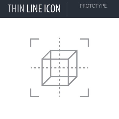 Symbol of Prototype Thin line Icon of Design Thinking. Stroke Pictogram Graphic for Web Design. Quality Outline Vector Symbol Concept. Premium Mono Linear Beautiful Plain Laconic Logo