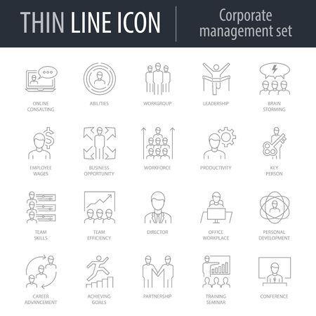Icons Set of Corporate Managemen. Symbol of Intelligent Thin Line Image Pack. Stroke Pictogram Graphic for Web Design. Quality Outline Vector Symbol Concept Collection. Premium Mono Linear Vettoriali