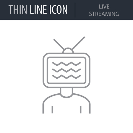 Symbol of Live Streaming Thin line Icon of Digital Marketing. Stroke Pictogram Graphic for Web Design. Quality Outline Vector Symbol Concept. Premium Mono Linear Beautiful Plain Laconic Logo