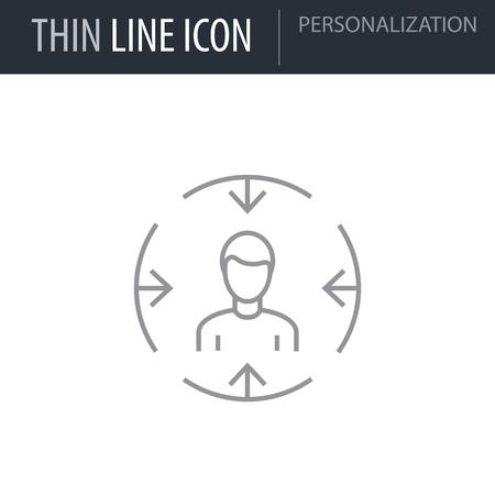 Symbol of Personalization Thin line Icon of Digital Marketing. Stroke Pictogram Graphic for Web Design. Quality Outline Vector Symbol Concept. Premium Mono Linear Beautiful Plain Laconic Logo