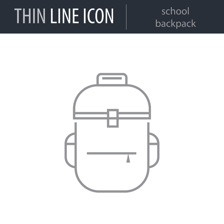 Symbol of school backpack Thin line Icon of Education Essentials. Stroke Pictogram Graphic for Web Design. Quality Outline Vector Symbol Concept. Premium Mono Linear Beautiful Plain Laconic Logo