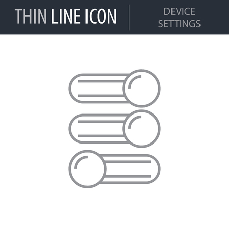 Symbol of Device Settings. Thin line Icon of Electronics And Devices. Stroke Pictogram Graphic for Web Design. Quality Outline Vector Symbol Concept. Premium Mono Linear Beautiful Plain Laconic Logo Иллюстрация