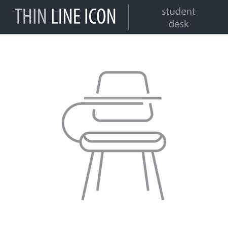 Symbol of student desk Thin line Icon of Education Essentials. Stroke Pictogram Graphic for Web Design. Quality Outline Vector Symbol Concept. Premium Mono Linear Beautiful Plain Laconic Logo Иллюстрация