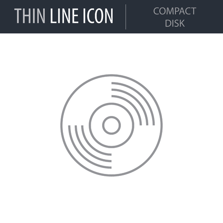 Symbol of Compact Disk. Thin line Icon of Electronics And Devices. Stroke Pictogram Graphic for Web Design. Quality Outline Vector Symbol Concept. Premium Mono Linear Beautiful Plain Laconic Logo Illustration