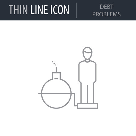 Symbol of Debt Problems Thin line Icon of Global Business. Stroke Pictogram Graphic for Web Design. Quality Outline Vector Symbol Concept. Premium Mono Linear Beautiful Plain Laconic Logo