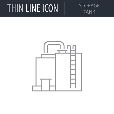 Symbol of Storage Tank Thin line Icon of Heavy And Power Industry. Stroke Pictogram Graphic for Web Design. Quality Outline Vector Symbol Concept. Premium Mono Linear Beautiful Plain Laconic Logo