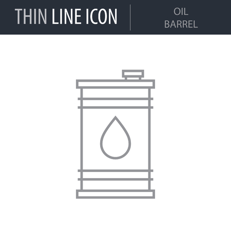 Symbol of Oil Barrel Thin line Icon of Heavy And Power Industry. Stroke Pictogram Graphic for Web Design. Quality Outline Vector Symbol Concept. Premium Mono Linear Beautiful Plain Laconic Logo Иллюстрация