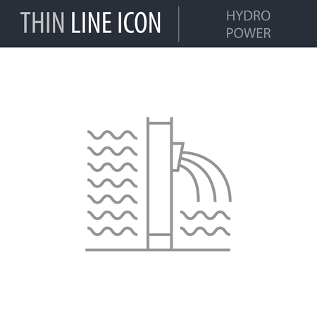 Symbol of Hydro Power Thin line Icon of Heavy And Power Industry. Stroke Pictogram Graphic for Web Design. Quality Outline Vector Symbol Concept. Premium Mono Linear Beautiful Plain Laconic Logo Ilustração
