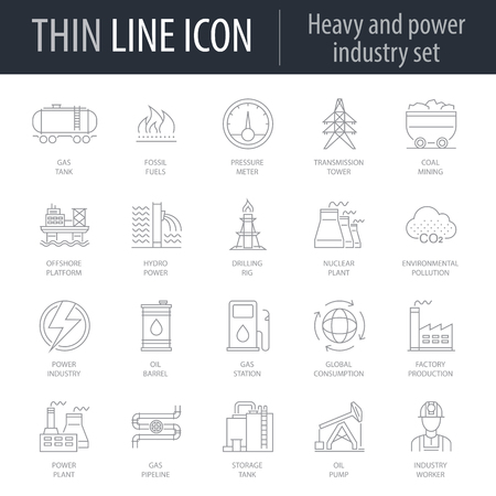 Icons Set of Heavy And Power Industry. Symbol of Intelligent Thin Line Image Pack. Stroke Pictogram Graphic for Web Design. Quality Outline Vector Symbol Concept Collection. Premium Mono Linear
