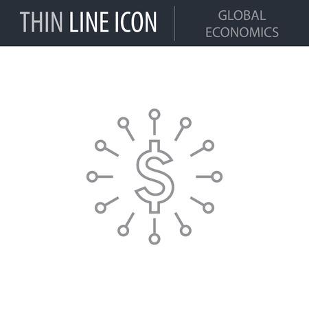 Symbol of Global Economics Thin line Icon of Global Business. Stroke Pictogram Graphic for Web Design. Quality Outline Vector Symbol Concept. Premium Mono Linear Beautiful Plain Laconic Logo