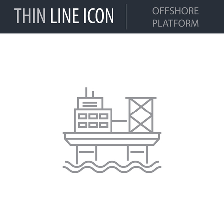 Symbol of Offshore Platform Thin line Icon of Heavy And Power Industry. Stroke Pictogram Graphic for Web Design. Quality Outline Vector Symbol Concept. Premium Mono Linear Beautiful Plain Laconic