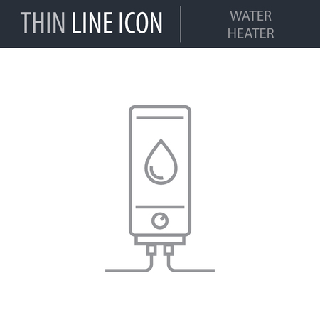 Symbol of Water Heater Thin line Icon of Home Appliances. Stroke Pictogram Graphic for Web Design. Quality Outline Vector Symbol Concept. Premium Mono Linear Beautiful Plain Laconic Logo Vettoriali