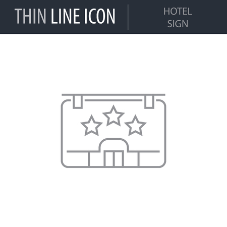 Symbol of Hotel Sign Thin line Icon of Hotel Services. Stroke Pictogram Graphic for Web Design. Quality Outline Vector Symbol Concept. Premium Mono Linear Beautiful Plain Laconic Logo Иллюстрация