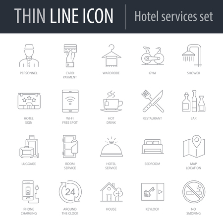 Icons Set of Hotel Services. Symbol of Intelligent Thin Line Image Pack. Stroke Pictogram Graphic for Web Design. Quality Outline Vector Symbol Concept Collection. Premium Mono Linear