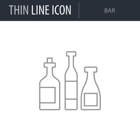 Symbol of Bar Thin line Icon of Hotel Services. Stroke Pictogram Graphic for Web Design. Quality Outline Vector Symbol Concept. Premium Mono Linear Beautiful Plain Laconic Logo Stock Vector - 123895567