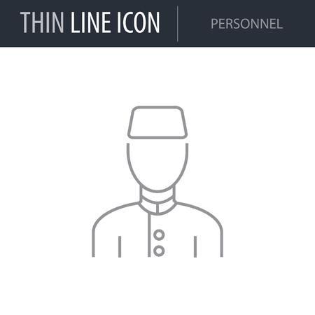Symbol of Personnel Thin line Icon of Hotel Services. Stroke Pictogram Graphic for Web Design. Quality Outline Vector Symbol Concept. Premium Mono Linear Beautiful Plain Laconic Logo Stock Illustratie