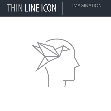 Symbol of Imagination. Thin line Icon of Icons Of Human Features. Stroke Pictogram Graphic for Web Design. Quality Outline Vector Symbol Concept. Premium Mono Linear Beautiful Plain Laconic Logo