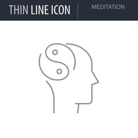 Symbol of Meditation. Thin line Icon of Icons Of Human Features. Stroke Pictogram Graphic for Web Design. Quality Outline Vector Symbol Concept. Premium Mono Linear Beautiful Plain Laconic Logo