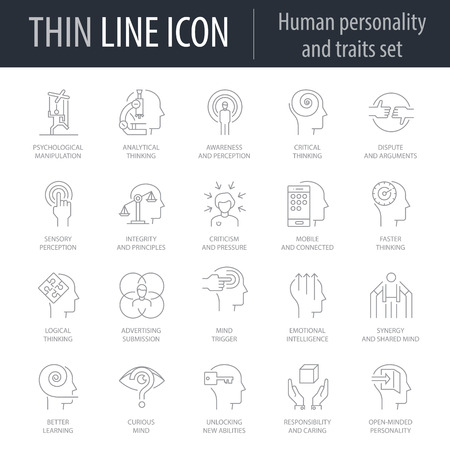 Icons Set of Human Personality And Traits. Symbol of Intelligent Thin Line Image Pack. Stroke Pictogram Graphic for Web Design. Quality Outline Vector Symbol Concept Collection. Premium Mono Linear