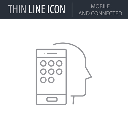 Symbol of Mobile And Connected. Thin line Icon of Human Personality And Traits. Stroke Pictogram Graphic for Web Design. Quality Outline Vector Symbol Concept. Premium Mono Linear Beautiful Plain