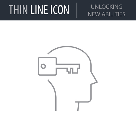 Symbol of Unlocking New Abilities. Thin line Icon of Human Personality And Traits. Stroke Pictogram Graphic for Web Design. Quality Outline Vector Symbol Concept. Premium Mono Linear Beautiful Plain