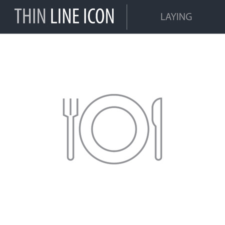 Symbol of Laying. Thin line Icon of Kitchen. Stroke Pictogram Graphic for Web Design. Quality Outline Vector Symbol Concept. Premium Mono Linear Beautiful Plain Laconic Logo
