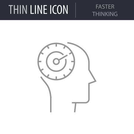 Symbol of Faster Thinking. Thin line Icon of Human Personality And Traits. Stroke Pictogram Graphic for Web Design. Quality Outline Vector Symbol Concept. Premium Mono Linear Beautiful Plain Laconic