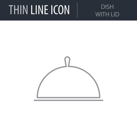 Symbol of Dish With Lid. Thin line Icon of Kitchen. Stroke Pictogram Graphic for Web Design. Quality Outline Vector Symbol Concept. Premium Mono Linear Beautiful Plain Laconic Logo