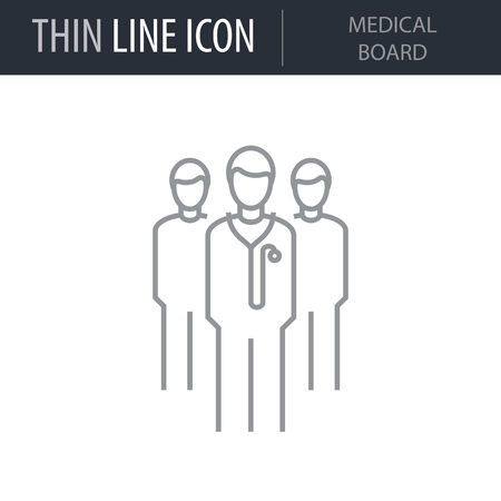 Symbol of Medical Board. Thin line Icon of Medicine Part One. Stroke Pictogram Graphic for Web Design. Quality Outline Vector Symbol Concept. Premium Mono Linear Beautiful Plain Laconic Logo