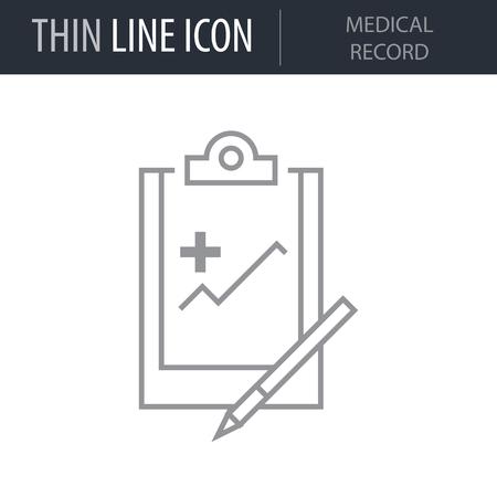 Symbol of Medical Record. Thin line Icon of Medicine Part One. Stroke Pictogram Graphic for Web Design. Quality Outline Vector Symbol Concept. Premium Mono Linear Beautiful Plain Laconic Logo