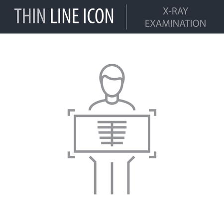 Symbol of X-ray Examination. Thin line Icon of Medicine Part One. Stroke Pictogram Graphic for Web Design. Quality Outline Vector Symbol Concept. Premium Mono Linear Beautiful Plain Laconic Logo Illustration
