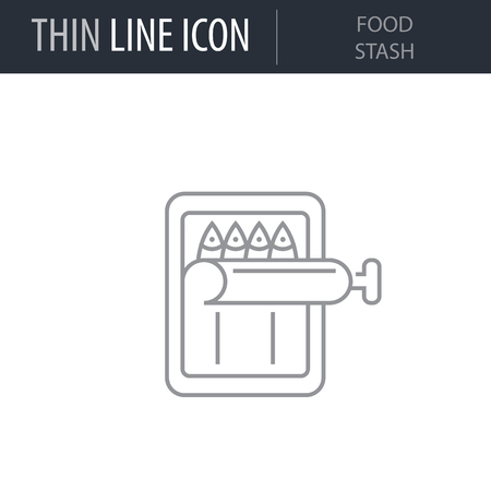 Symbol of Food Stash. Thin line Icon of Outdoor Recreation. Stroke Pictogram Graphic for Web Design. Quality Outline Vector Symbol Concept. Premium Mono Linear Beautiful Plain Laconic Logo