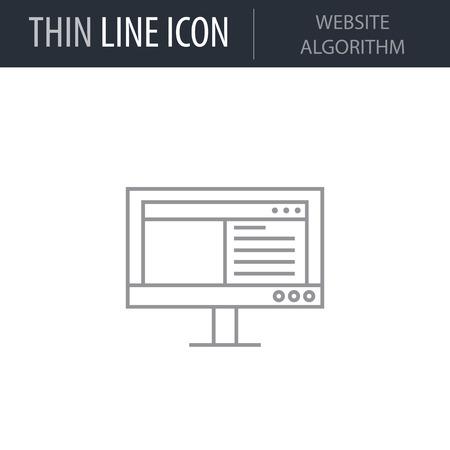 Symbol of Website Algorithm. Thin line Icon of Network Technology. Stroke Pictogram Graphic for Web Design. Quality Outline Vector Symbol Concept. Premium Mono Linear Beautiful Plain Laconic Logo