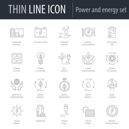 Icons Set of Power And Energy. Symbol of Intelligent Thin Line Image Pack. Stroke Pictogram Graphic for Web Design. Quality Outline Vector Symbol Concept Collection. Premium Mono Linear Vektoros illusztráció