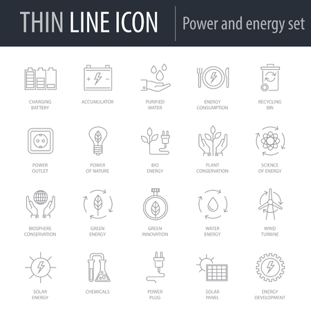 Icons Set of Power And Energy. Symbol of Intelligent Thin Line Image Pack. Stroke Pictogram Graphic for Web Design. Quality Outline Vector Symbol Concept Collection. Premium Mono Linear