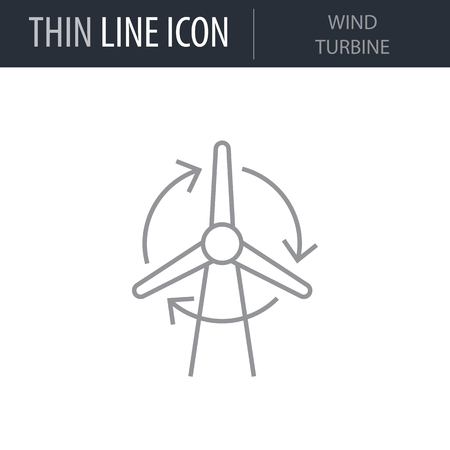 Symbol of Wind Turbine. Thin line Icon of Power And Energy. Stroke Pictogram Graphic for Web Design. Quality Outline Vector Symbol Concept. Premium Mono Linear Beautiful Plain Laconic Logo Иллюстрация